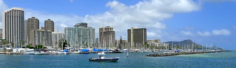 Ala Wai Harbor Diamond Head panoramic